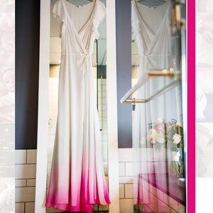 DVF ombré pink chiffon wrap dress